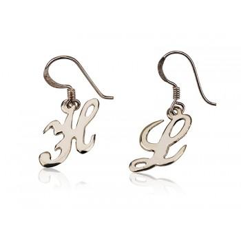 Initial Silver drop earrings