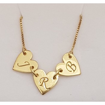 """18K Solid Yellow Gold 3 Hearts w/ Initial's """"J.R.B"""" Name Necklace"""