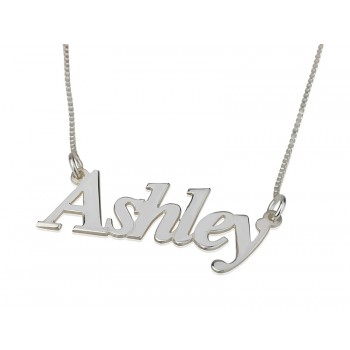 """0.925 Silver Name Necklace Regular Font """"Ashley"""" from our silver name necklace collection"""