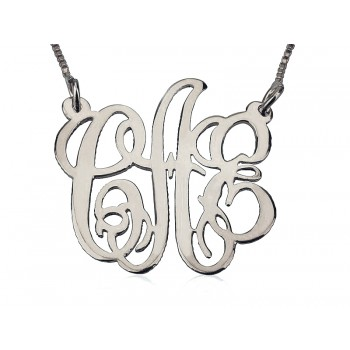Monogram gold 14k white open pendant - xome with a real gold chain