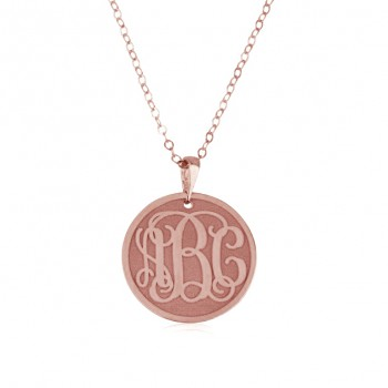 Monogram rose gold necklace coin style pendant and chain