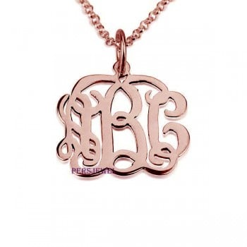 personalized necklaces Monogram rose gold necklace style - Up to 3 letters