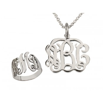 Monogram silver necklace - Ring and pendant up to 3 letters