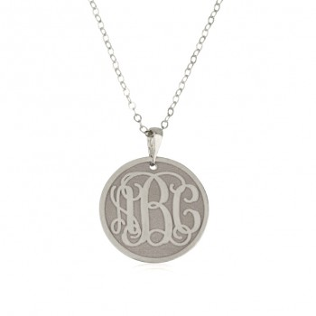 Monogram white gold necklaces coin engraving Jewelry up to 3 letters
