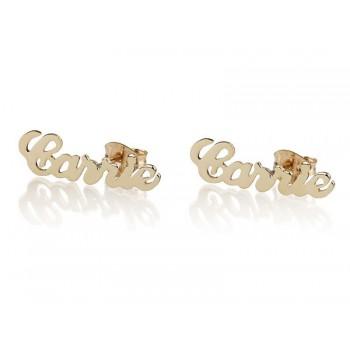 10k Gold Stud Carrie Name Earrings for Mom