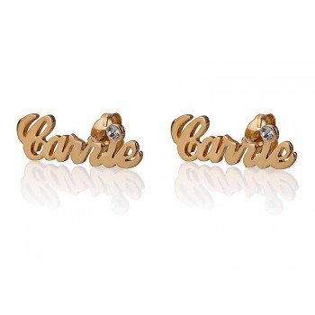 18k Solid Gold Carrie Name Earrings with Birthstone