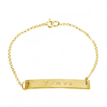 Name engraved bracelet in 14k yellow gold