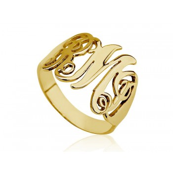 Name gold ring in monogram style - Up ro 3 letters