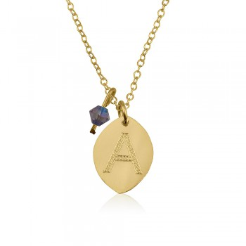Oval gold initial pendant necklace in 10k yellow real gold, come with a color birthstone
