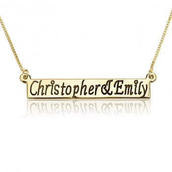 14k Yellow Gold Bar Mom Necklace with Kids Names