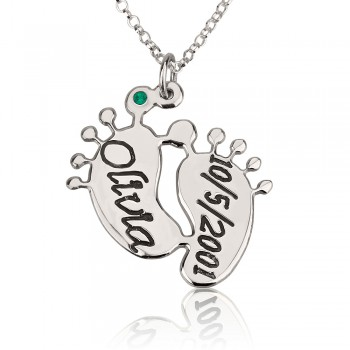 Silver Personalized Baby Feet Necklace Engraved for Mom with name and date