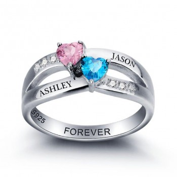 Sterling Silver Name Ring with Birthstones