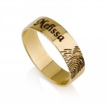 Personalized rings for her in gold plate with 12 letters engraving in black color