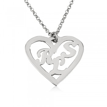 Heart shaped 14k solid white gold necklace