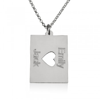 14k solid white gold two names with a middle heart