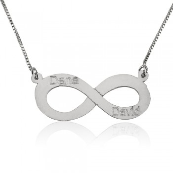 14k white gold infinity necklace with 2 names
