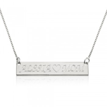 Personalized Jewelry Sterling Silver Bar Necklace, up to 16 Characters.