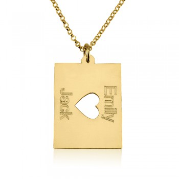 18k gold plated two names with a middle heart