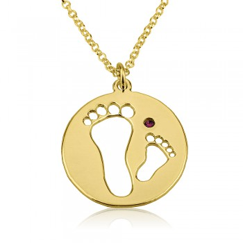 Gold plated baby feet name necklace with footprints