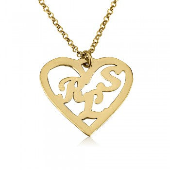 18k gold plated heart shape name necklace