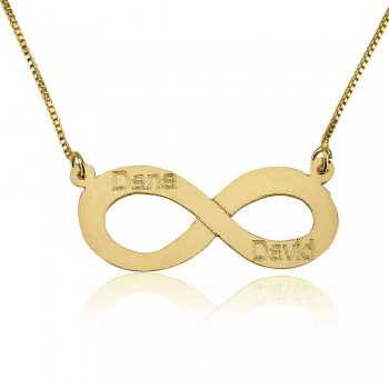 Infinity engraving with 2 names personalized jewelry in solid gold
