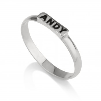 14k Silver gold initial Bar ring