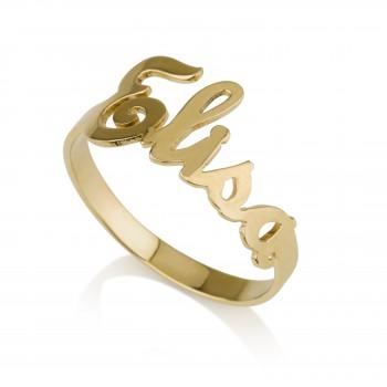 Yellow gold Name ring design