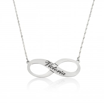 14k Solid white Gold Infinity Name Necklace