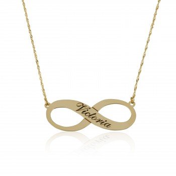 14k Gold Infinity Name Necklace with Black Engraving