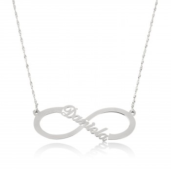 14k Solid white Gold Infinity Name Necklace style
