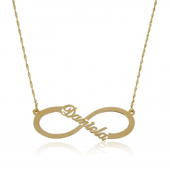 14k Personalized Solid yellow Gold Infinity Name Necklace style