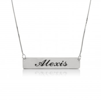 personalized Silver Gold bar name necklace
