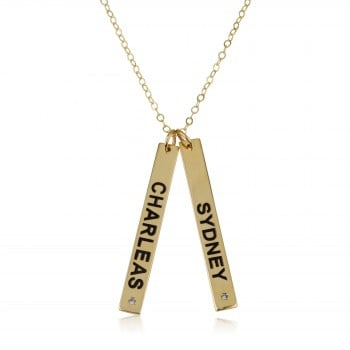 14k Solid Yellow Gold Necklace Tag Engraved Name Necklace with Swarovski stones