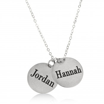 18k Two Names Round Plated Love Necklace White Gold Name Necklace