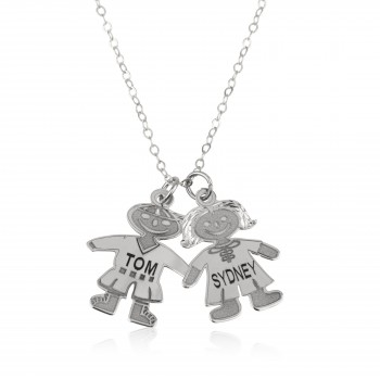 Solid White gold Child (Boy or Girl) Engraved styled Mom Necklace