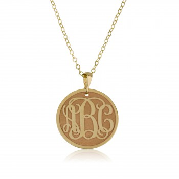 18k Gold Name Necklace with Monogram Coin
