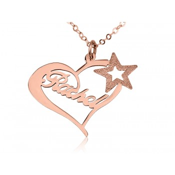 Rose Star Name Necklace 18k Gold Plating -Rose gold fashion Jewelry