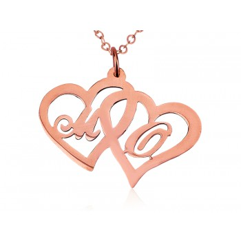 Custom rose plated Two Initial Letters & Heart Rose Gold name necklace