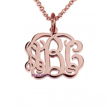 Rose 14k monogram gold pendant necklaces, come with rose 14k real gold chain.