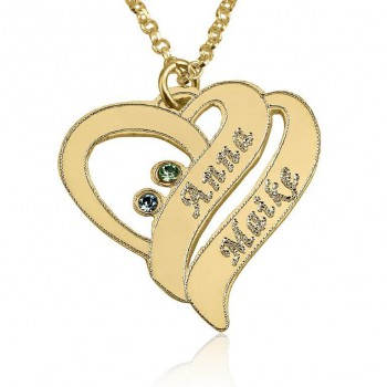 18k Gold Plated Shadow Heart Mom Necklace with Kids Names and Birthstones
