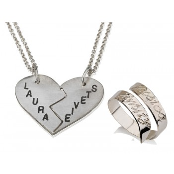 SET of two jewelry pcs's ring and pendant with personalized Engraving