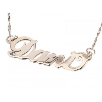 Sterling Silver Name Necklace with Swarovski Stone