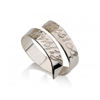 0.925 Sterling Silver Two Diagonal Stripes With Engraving Jewelry