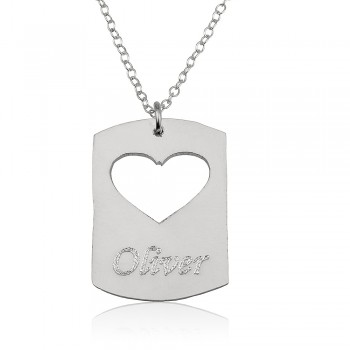 Sterling silver disc name necklace with a heart