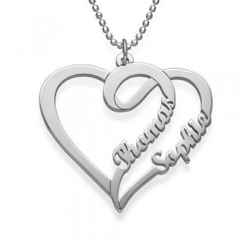 Sterling Silver Personalized Heart Name Necklace
