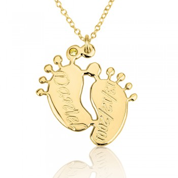 Mom jewelry for baby in 18k solid yellow gold name necklace with personalized name and date