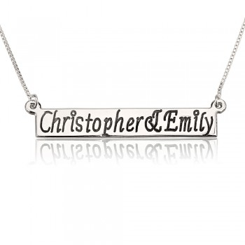 Sterling Silver Bar Name Necklace With Two Names PersJewel