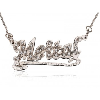 Any name or work in this name necklace with diamonds plaid