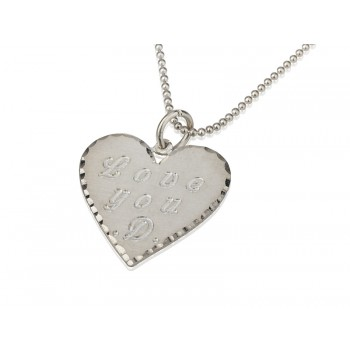 Lover 0.925 Sterling Silver Heart Pendant With Engravings - PersJewel