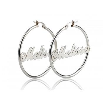 0.925 Sterling Silver Hoop NAME Earrings - any name any word
